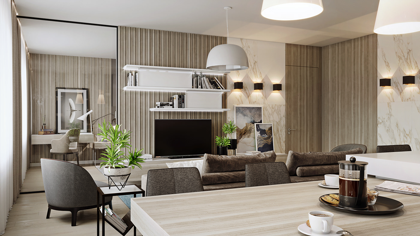 Render apartment livingroom kitchen SHOWER visualization