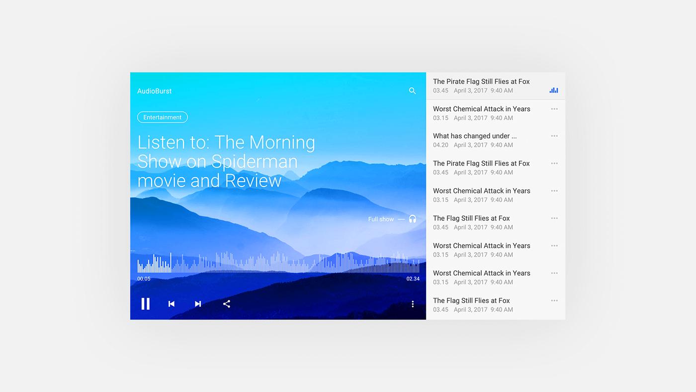 mobile UI ux design Radio player Audio