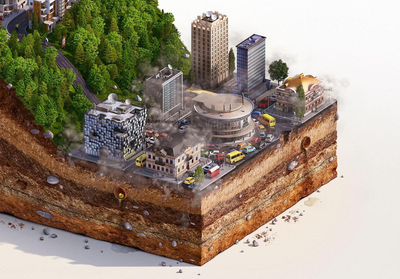 ILLUSTRATION  Digital Art  retouching  buildings Charts city tbilisi architecture architect 3D