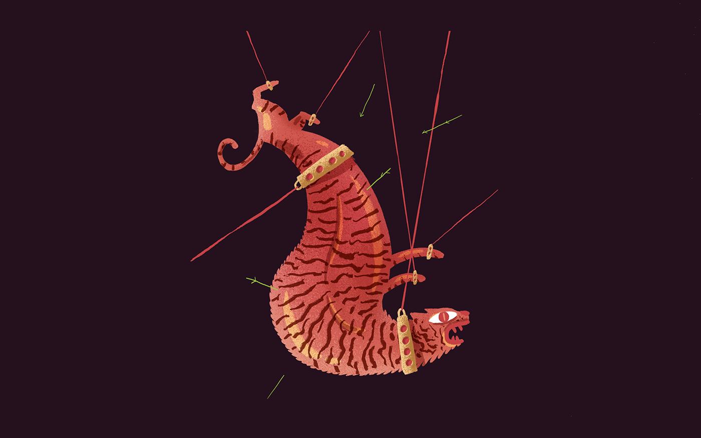 ILLUSTRATION  vector 2D Character design  music animals tattoo animation  animated gif