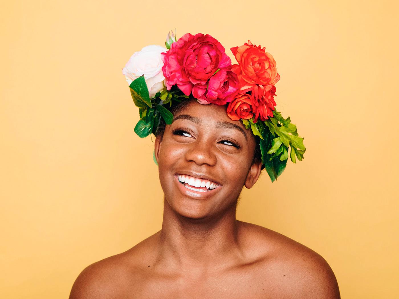 Beautiful black woman smiling with no makeup