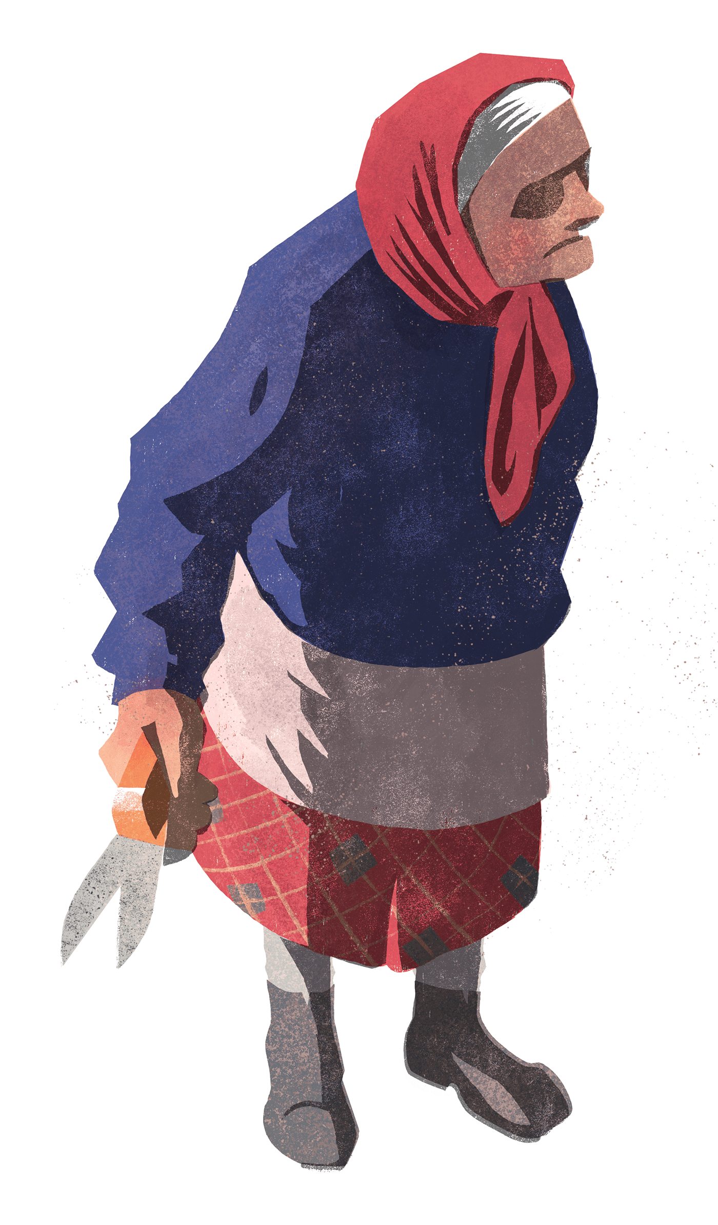 ILLUSTRATION  woman grandmother color flat textured Procreate