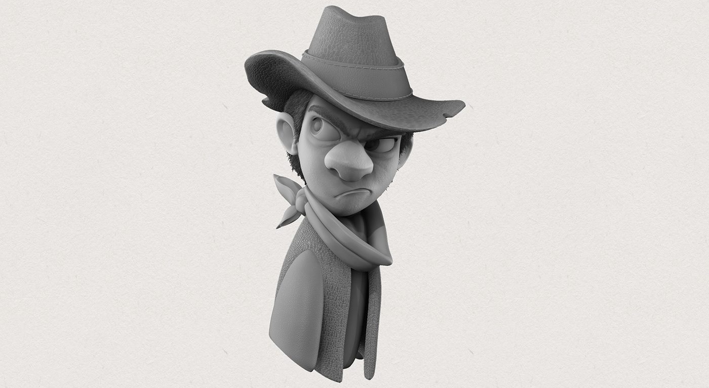 western,3D,animation ,Character,design,toy,sculpture,Zbrush,sheriff