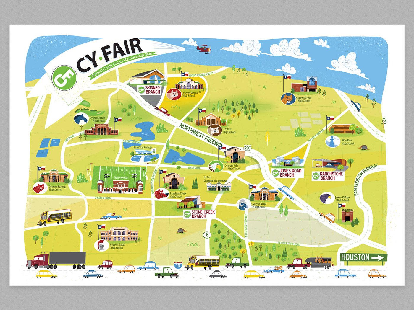 Cartoon map for Cy-Fair Federal Credit Union on Behance on not to scale map, sci fi map, road map, political map, childrens map, countries flags map, simple map, french map, office map, car and map, cute map, tube map, game map, classroom map, me on the map, watercolor map, student with map, vintage map,