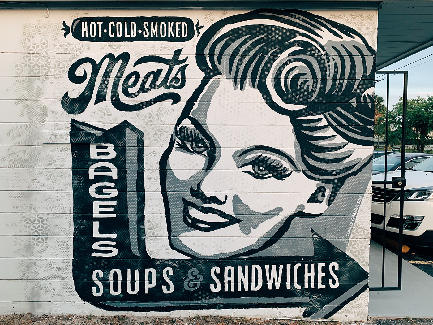 vintage deli texture Mural smoked meats cass street deli tampa florida Classic grayscale