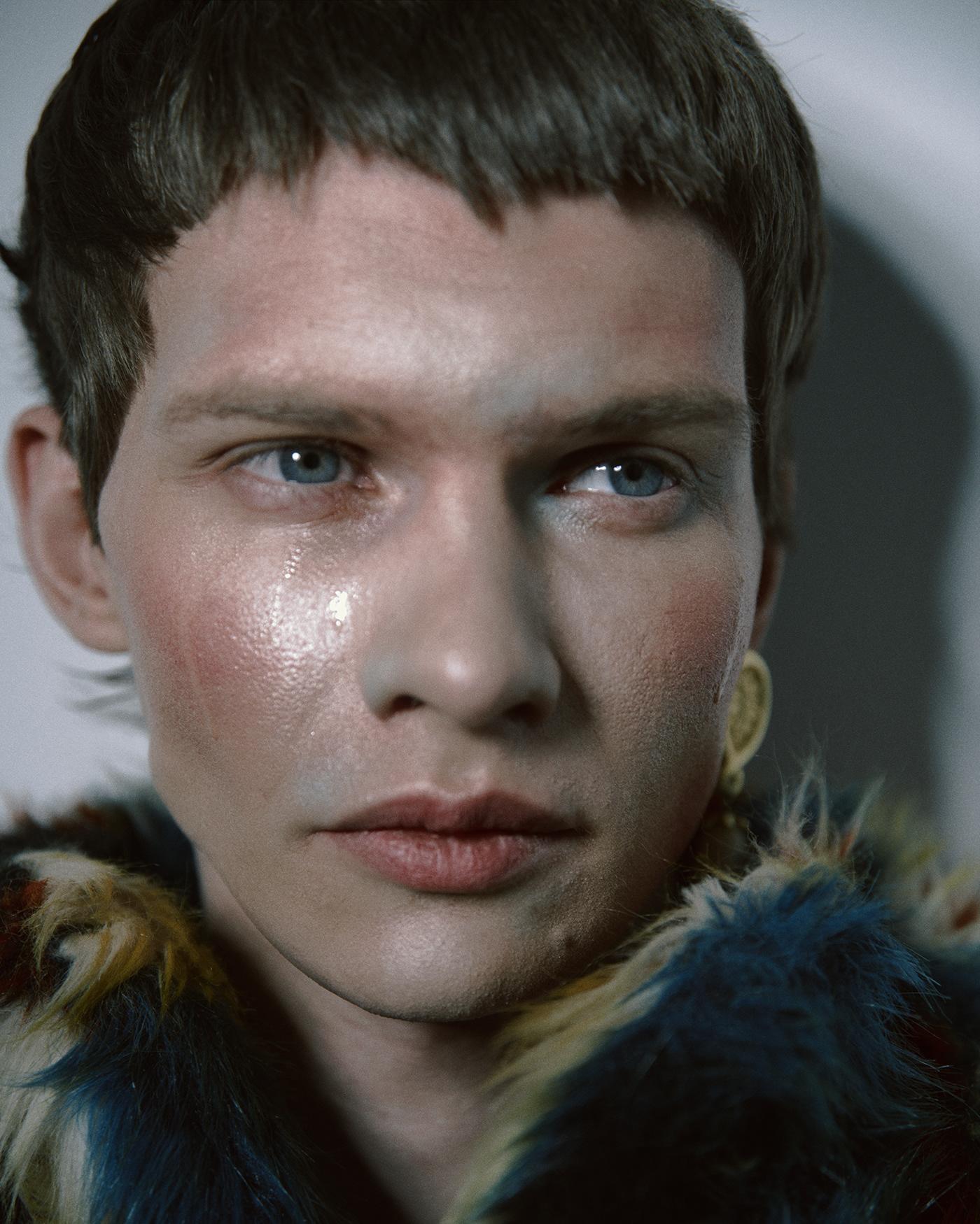 art beauty creative hair makeup man portrait