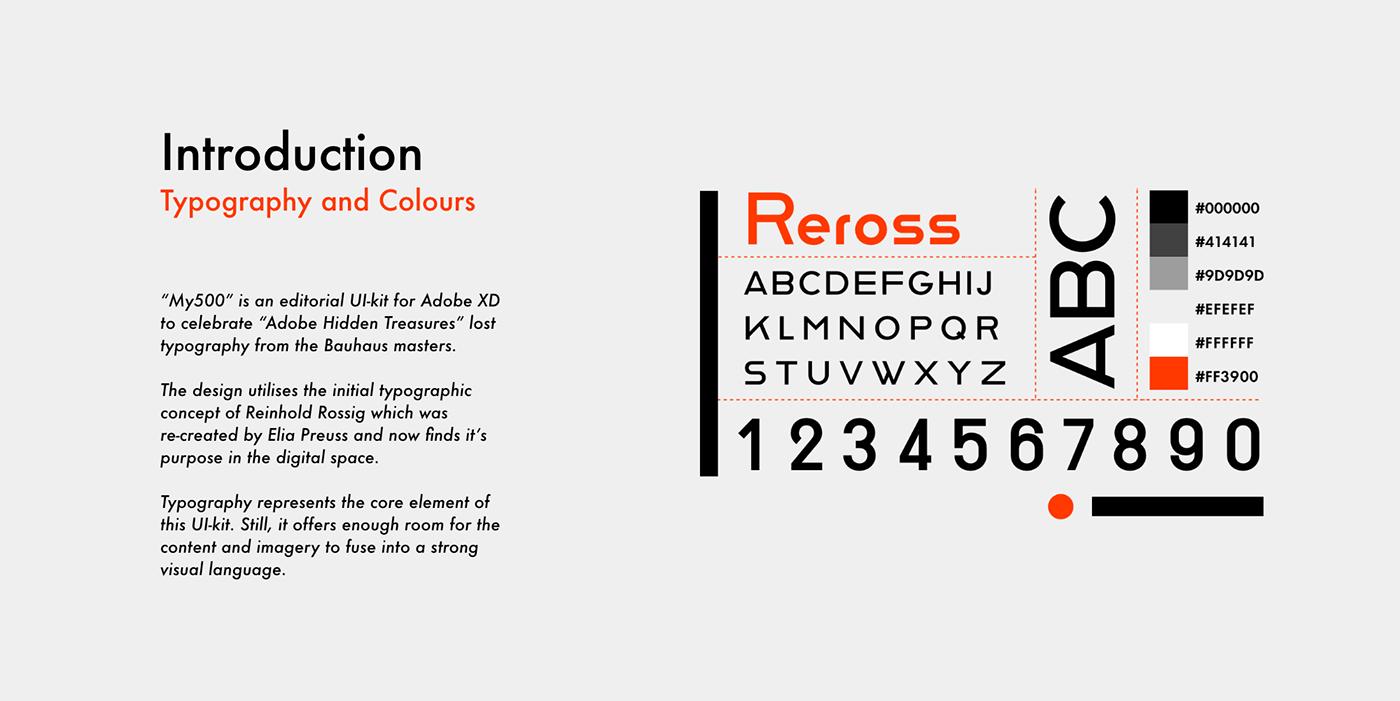 UI editorial Web bauhaus design adobehiddentreasure template pattern typography   xD