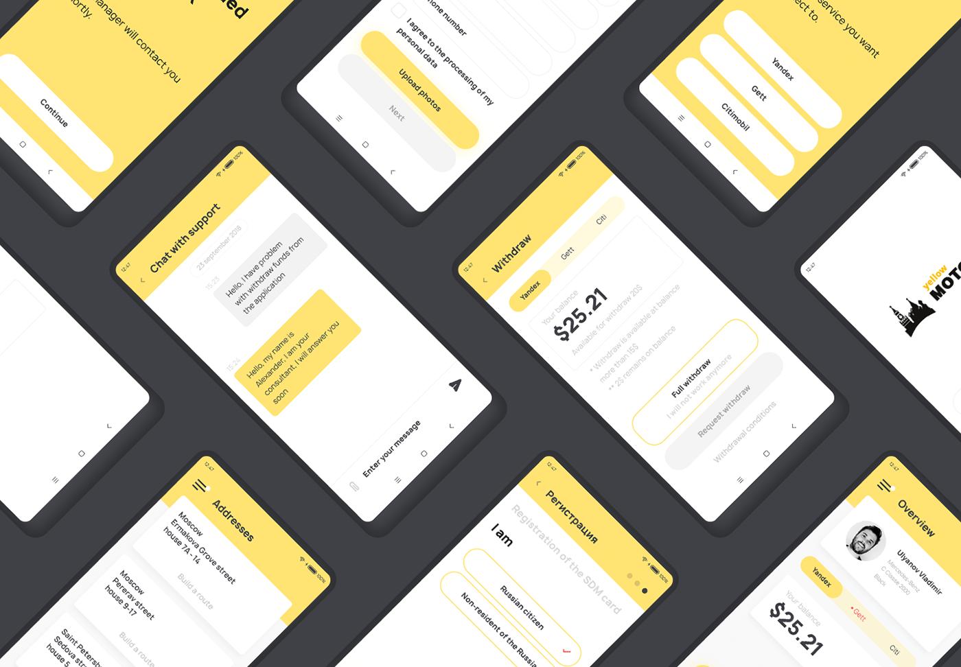 taxi UX design app design app ui design ux/ui design flat material