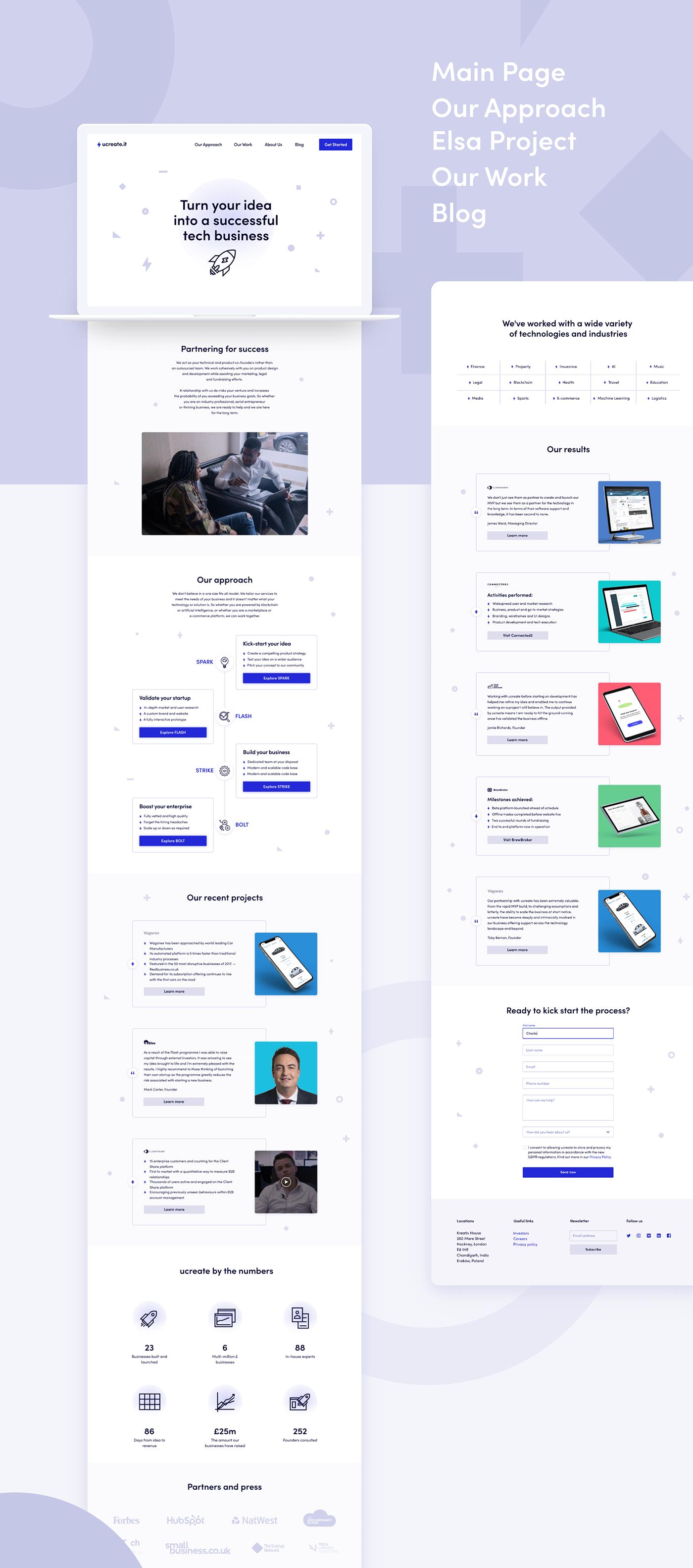 Website branding  UI ux Startup landing page mobile design Icon user flow Blog