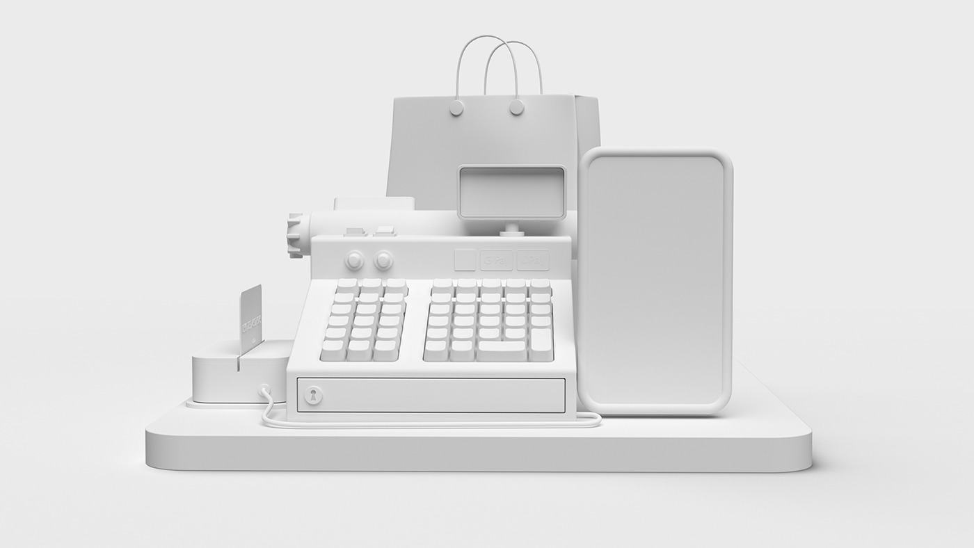3D animation  business card Cashregister e-commerce Pay Platform Retail