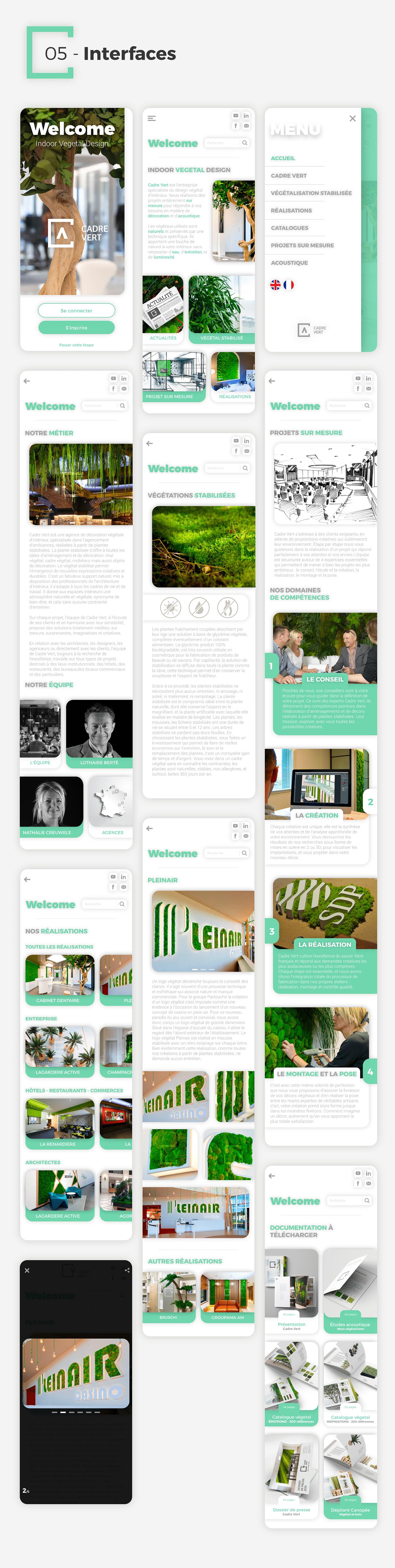 application Cadre Vert design Interface Plant plante UI/UX Design Web wireframe