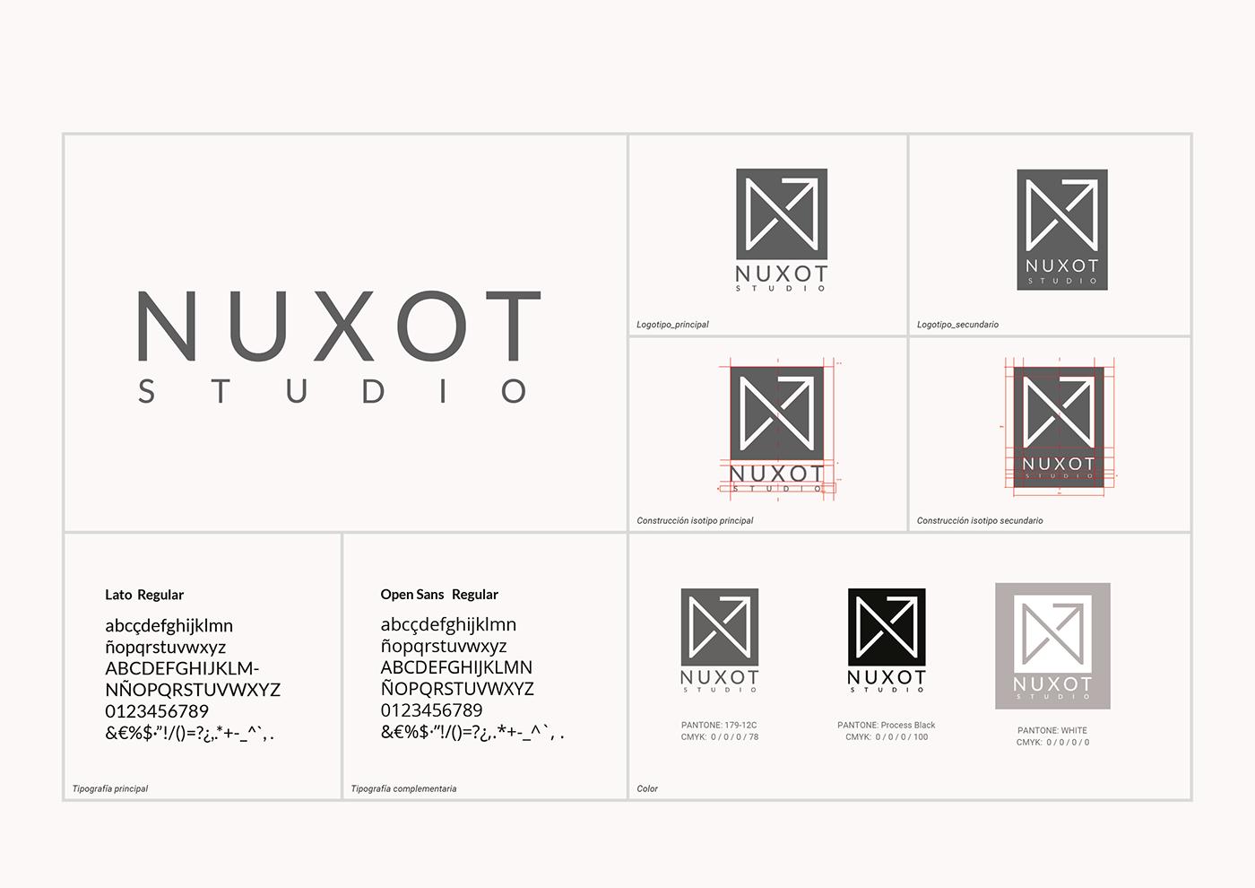 Muestra de construcción, diferentes logos y tipografías aplicadas al logotipo