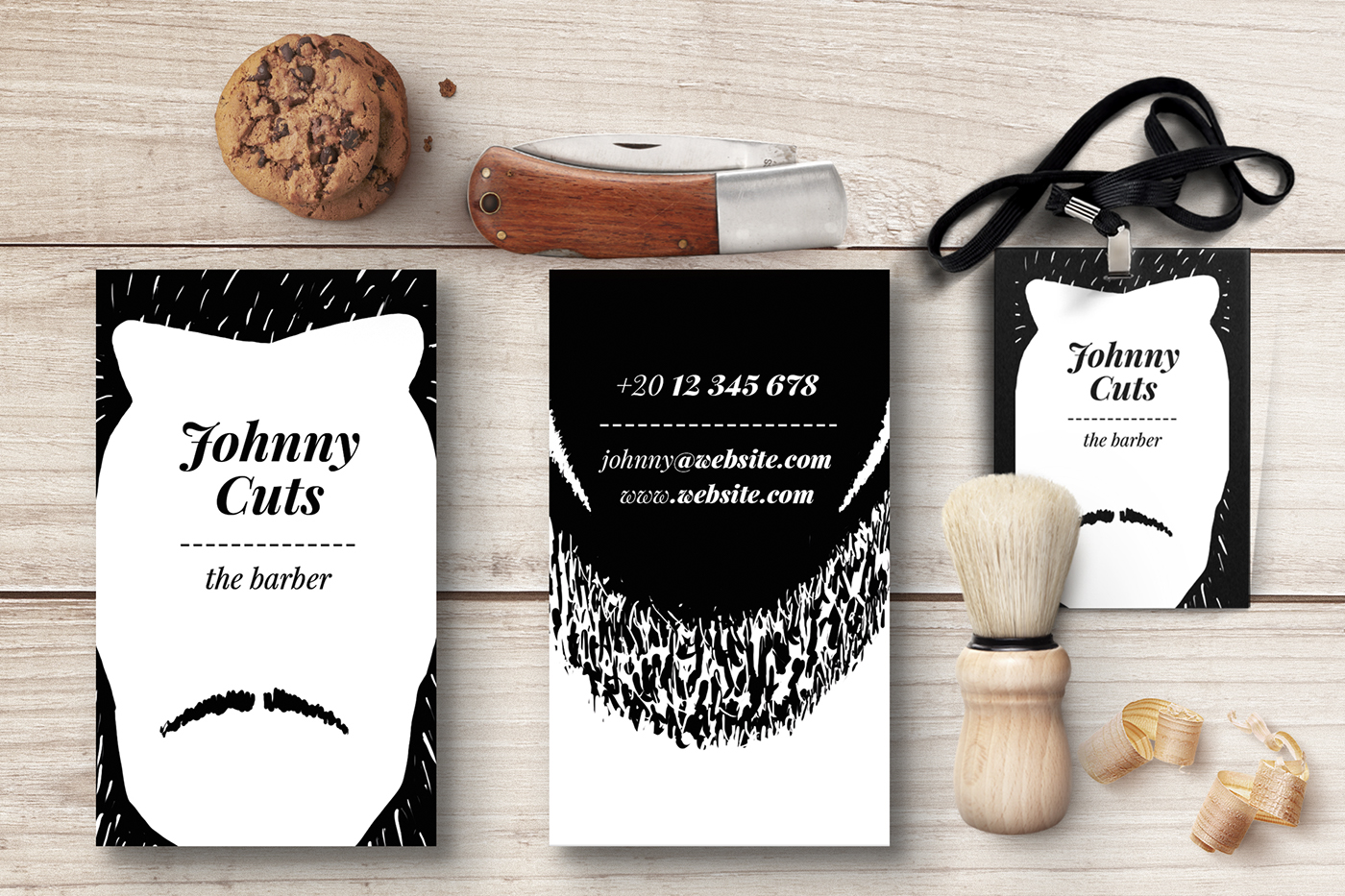 The barber business cards templates on behance choose your hairstyle and your beard then edit your name and youre done customize the business card to match your style you have 25 variations possible friedricerecipe Choice Image