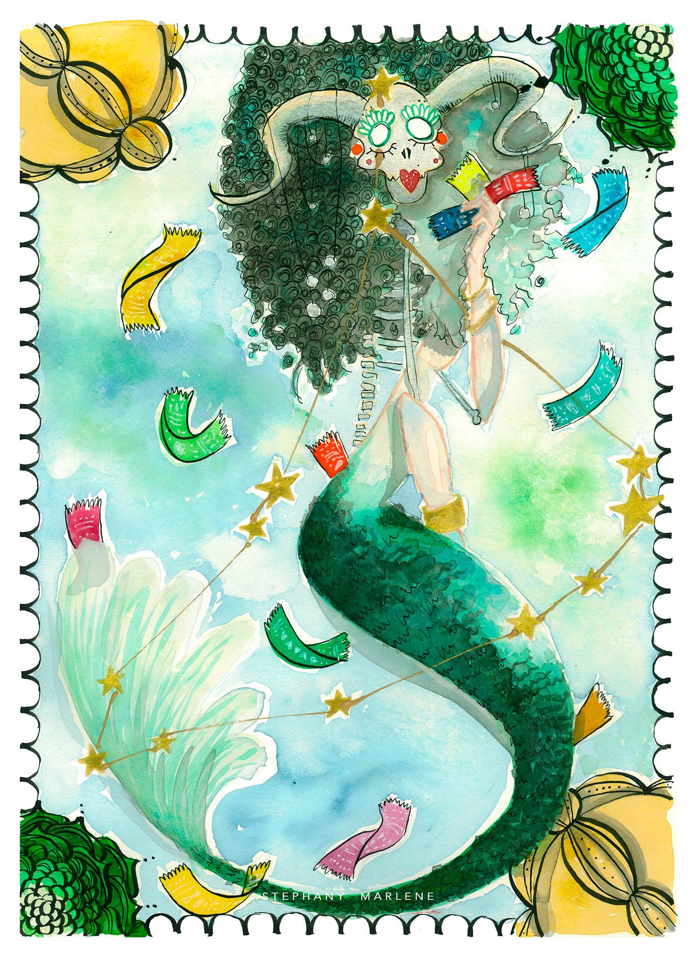 miss catrina capricorn stephanymarlen3 watercolor tijuana mexico zodiac catrina death