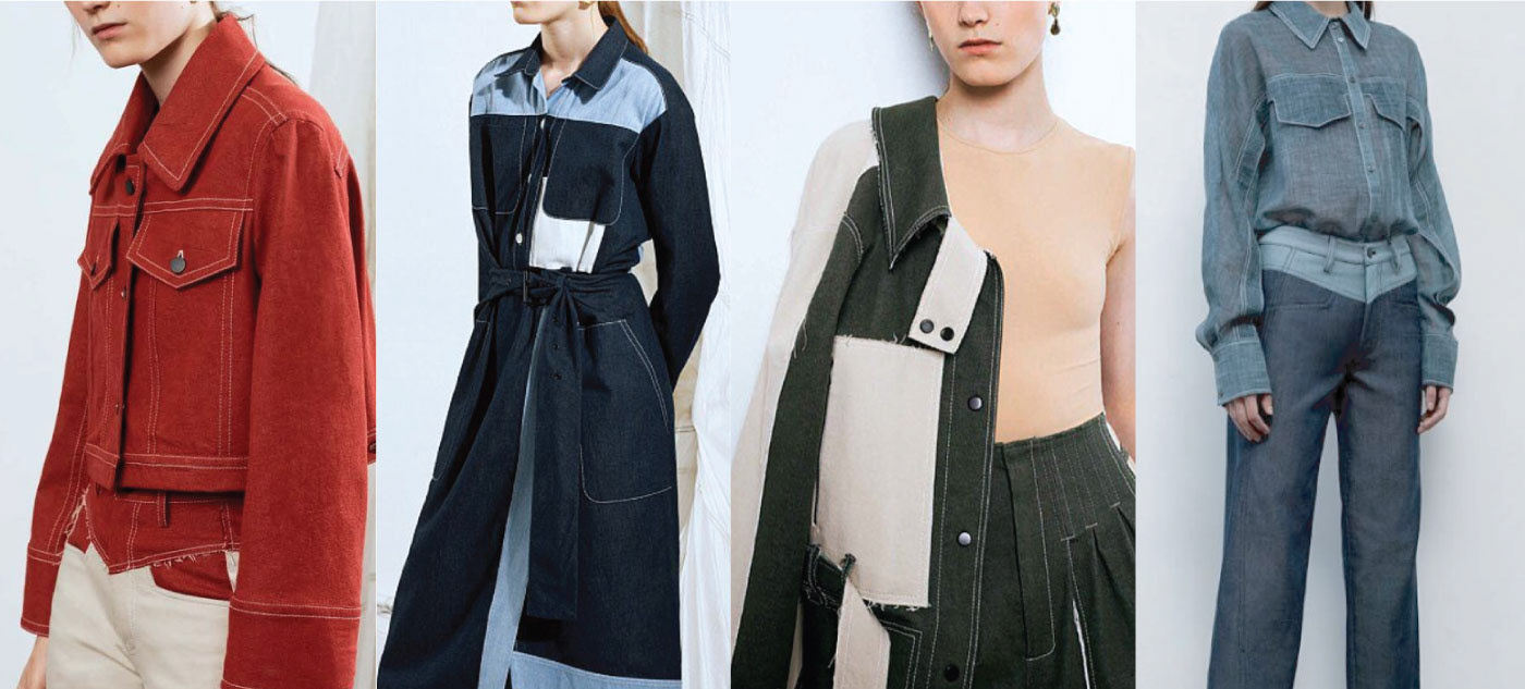 capsule collection Denim design Fashion  flatlay Power Dressing TECHNICAL SKETCHES