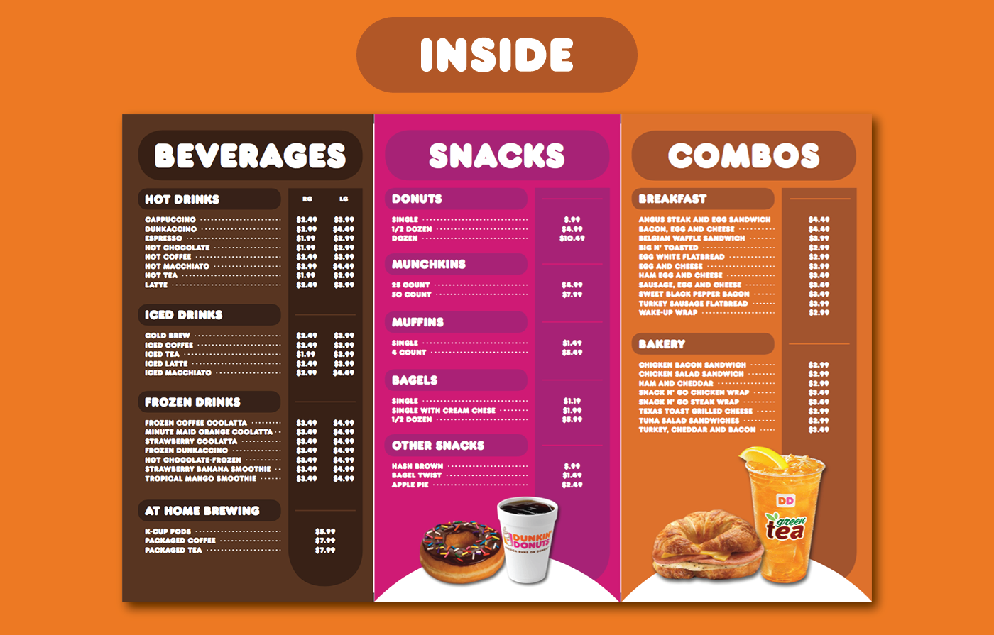 Dunkin' Donuts Menu, Web Ads, & Table Tent on Behance