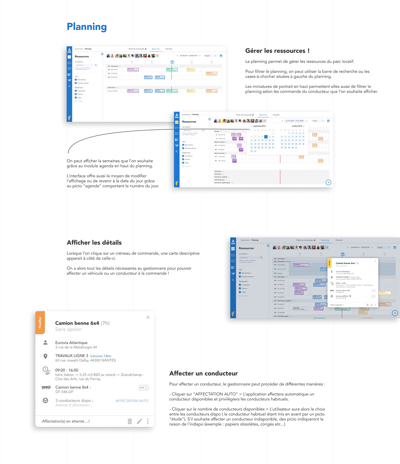 Présentation des interfaces de planning