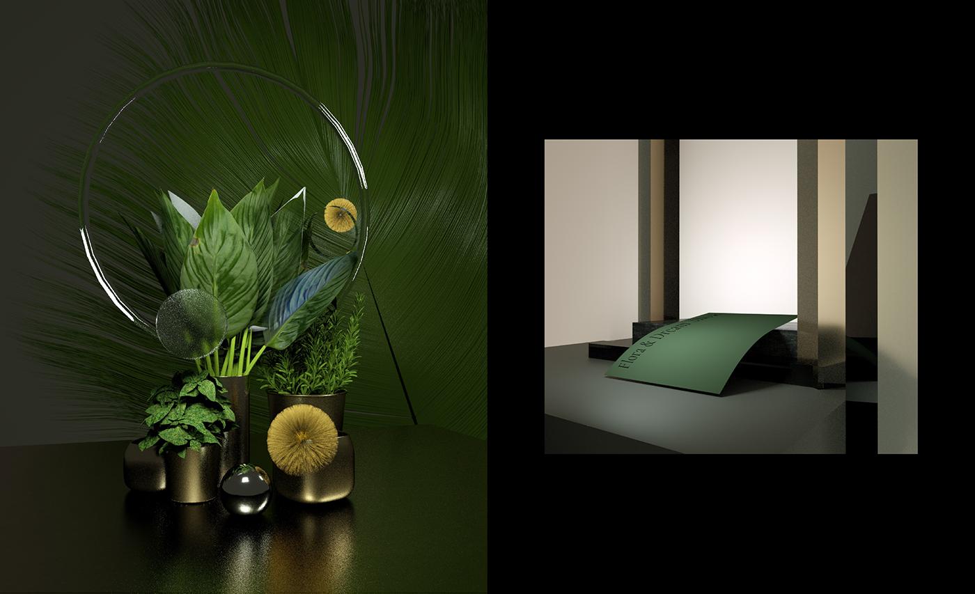 Floral design cinema4d rendering set design  3d art elegant gallery octane Brandnig Renaissance