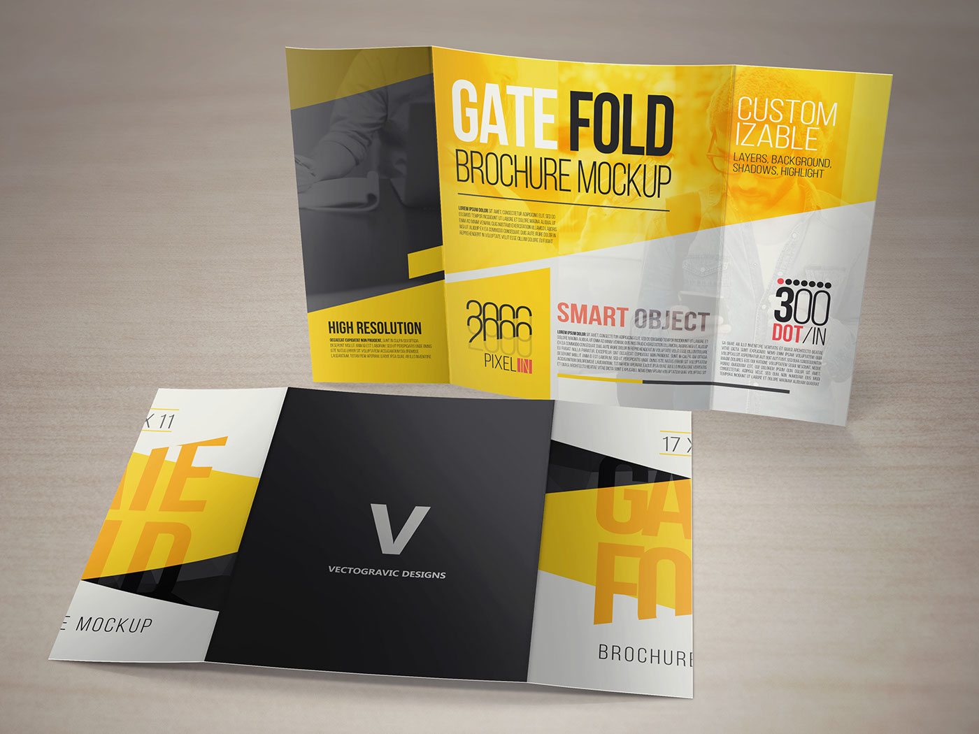 17 x 11 Gate Fold Brochure Mockup on Behance – Gate Fold Brochure Mockup