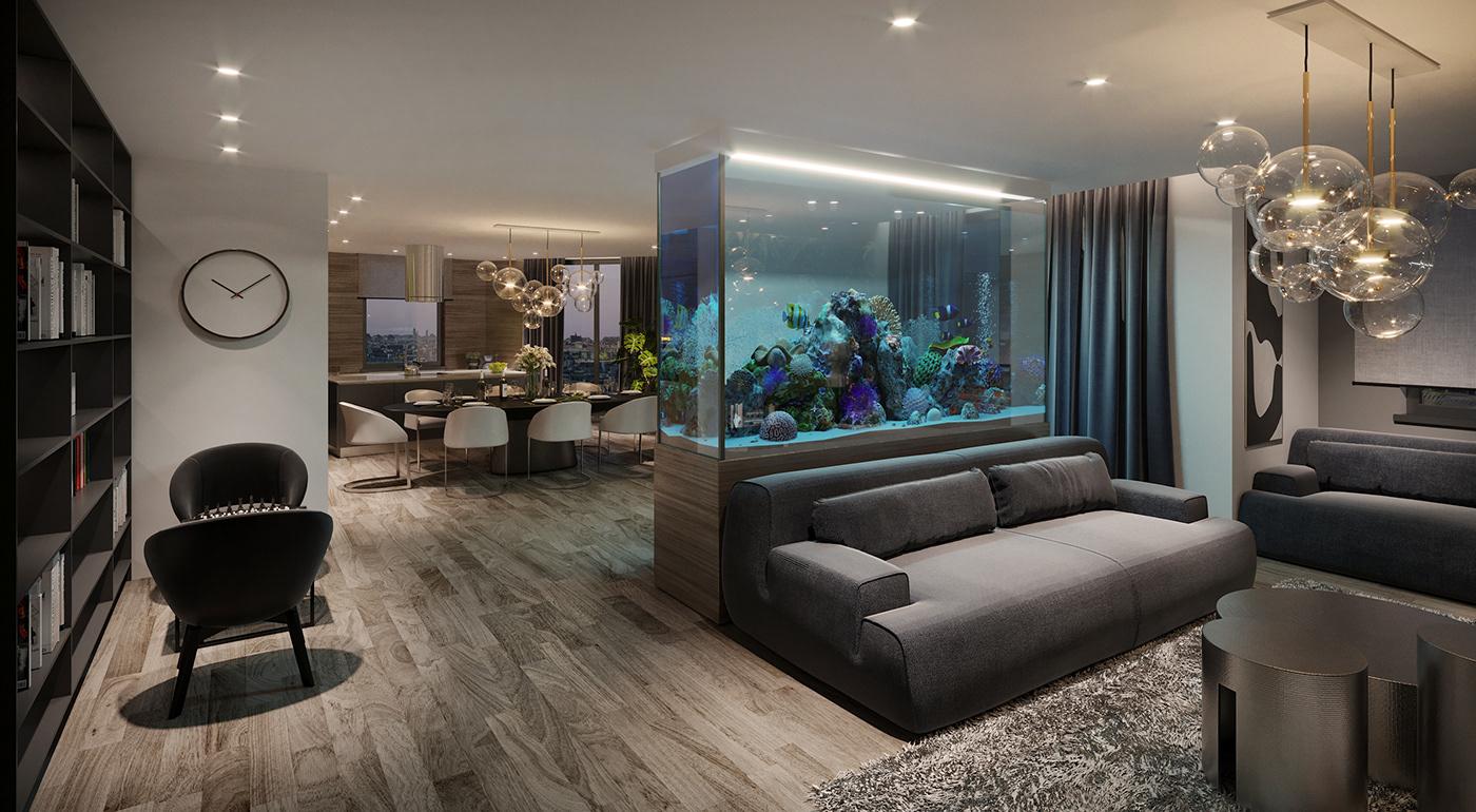 apartment penthouse design furniture Render 3D Interior architect house studio