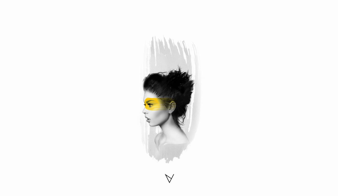 digital digital painting ILLUSTRATION  portrait Adriana Mockovciakova model graphic color painting   print