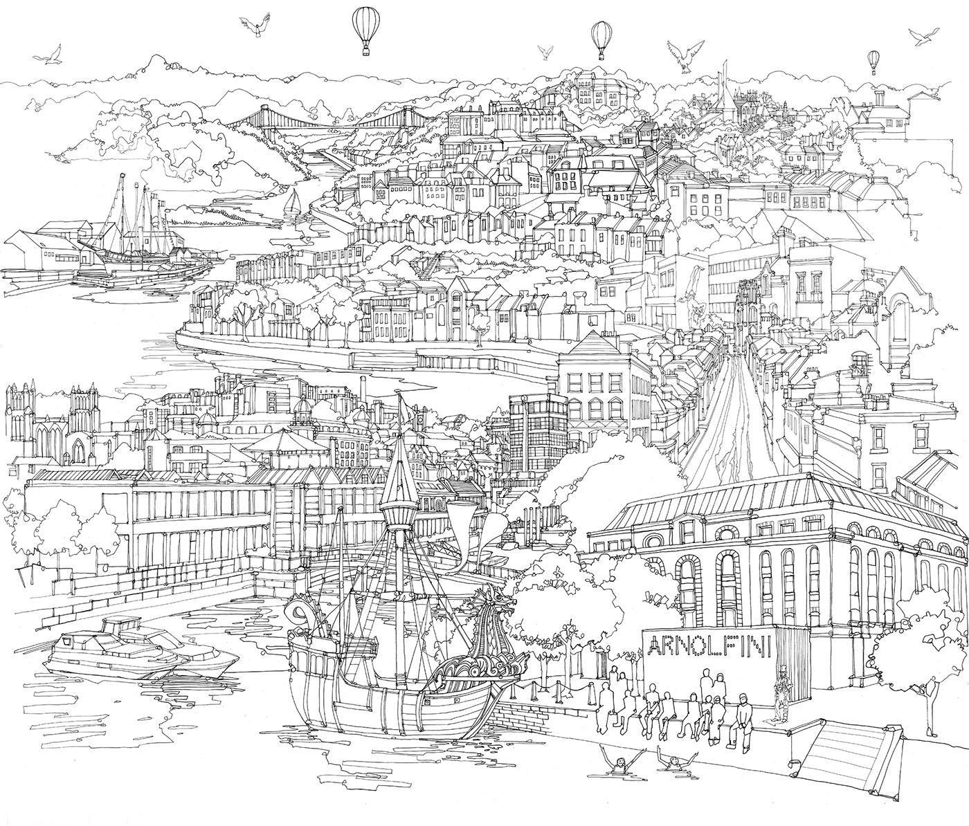 Bristol Cityscape Mural On Behance