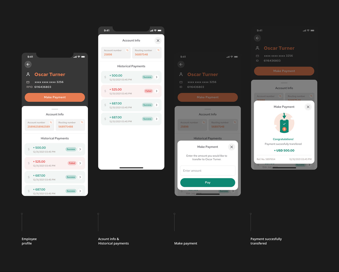 application Figma finance app financial mobile paycheck payment payroll UI/UX ux