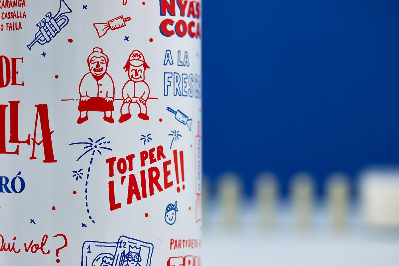 lettering cazalla spirit Liqueur bottle screenprint Packaging Anise valencia Fallas