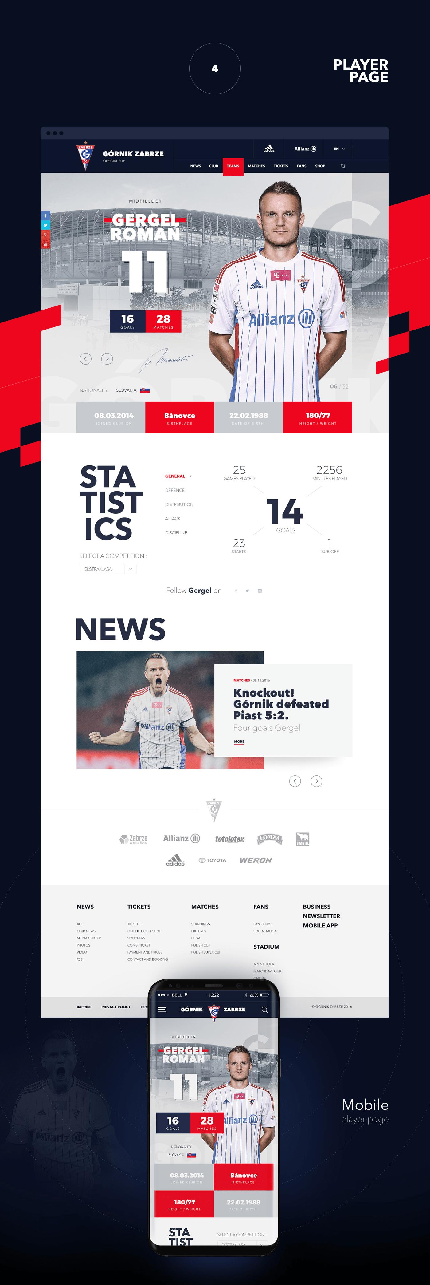 football Web Webdesign soccer team sport górnik zabrze league fan player