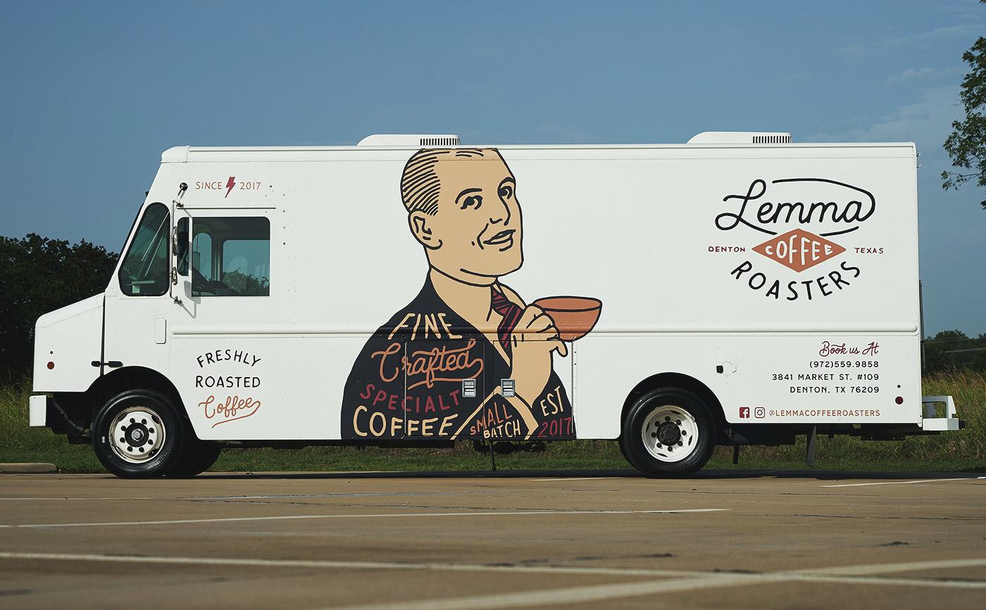 Coffee hand drawn Food truck vintage Retro lettering logo