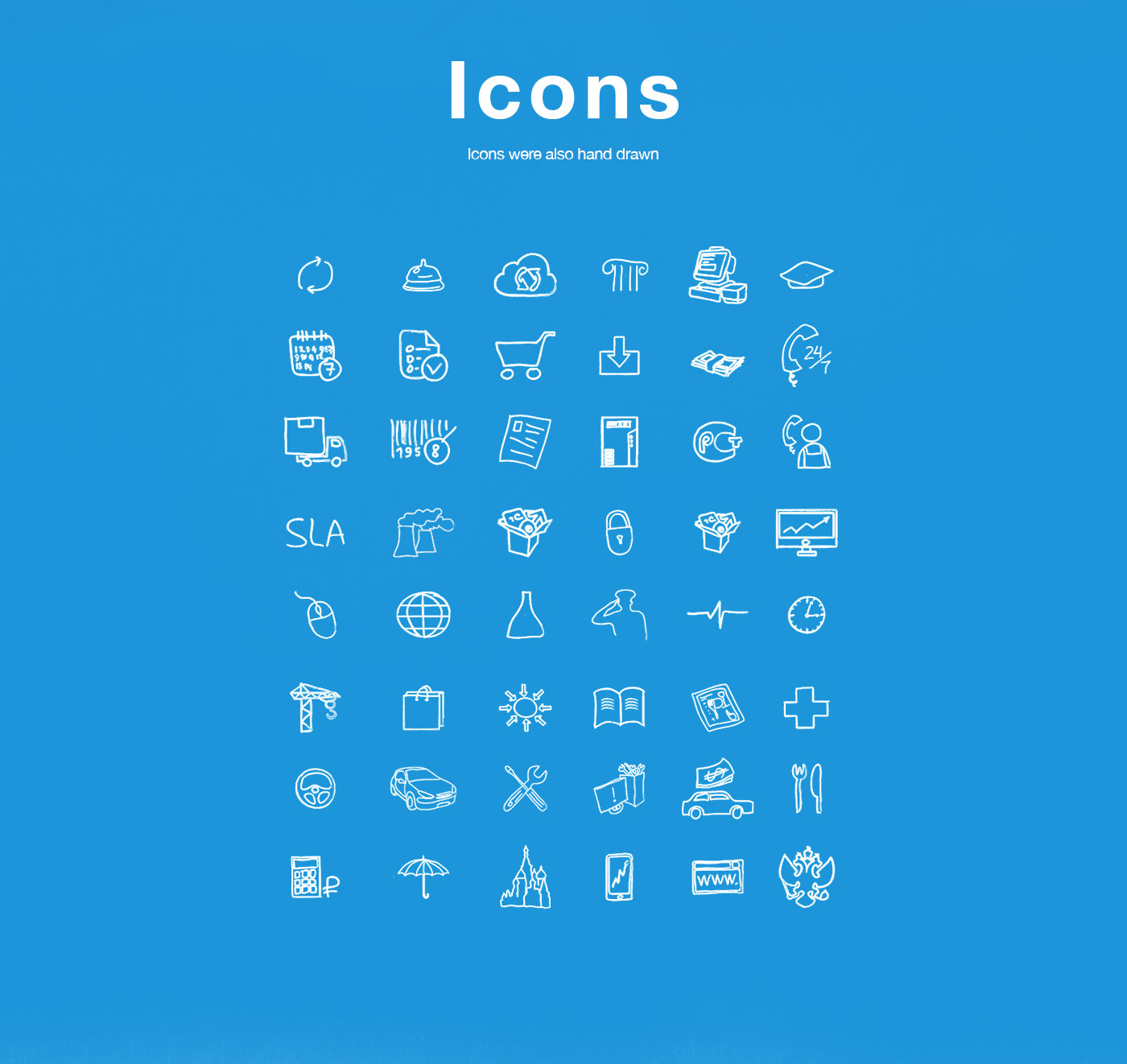 brochure IT drawings infographics map plane people icons handdrawn