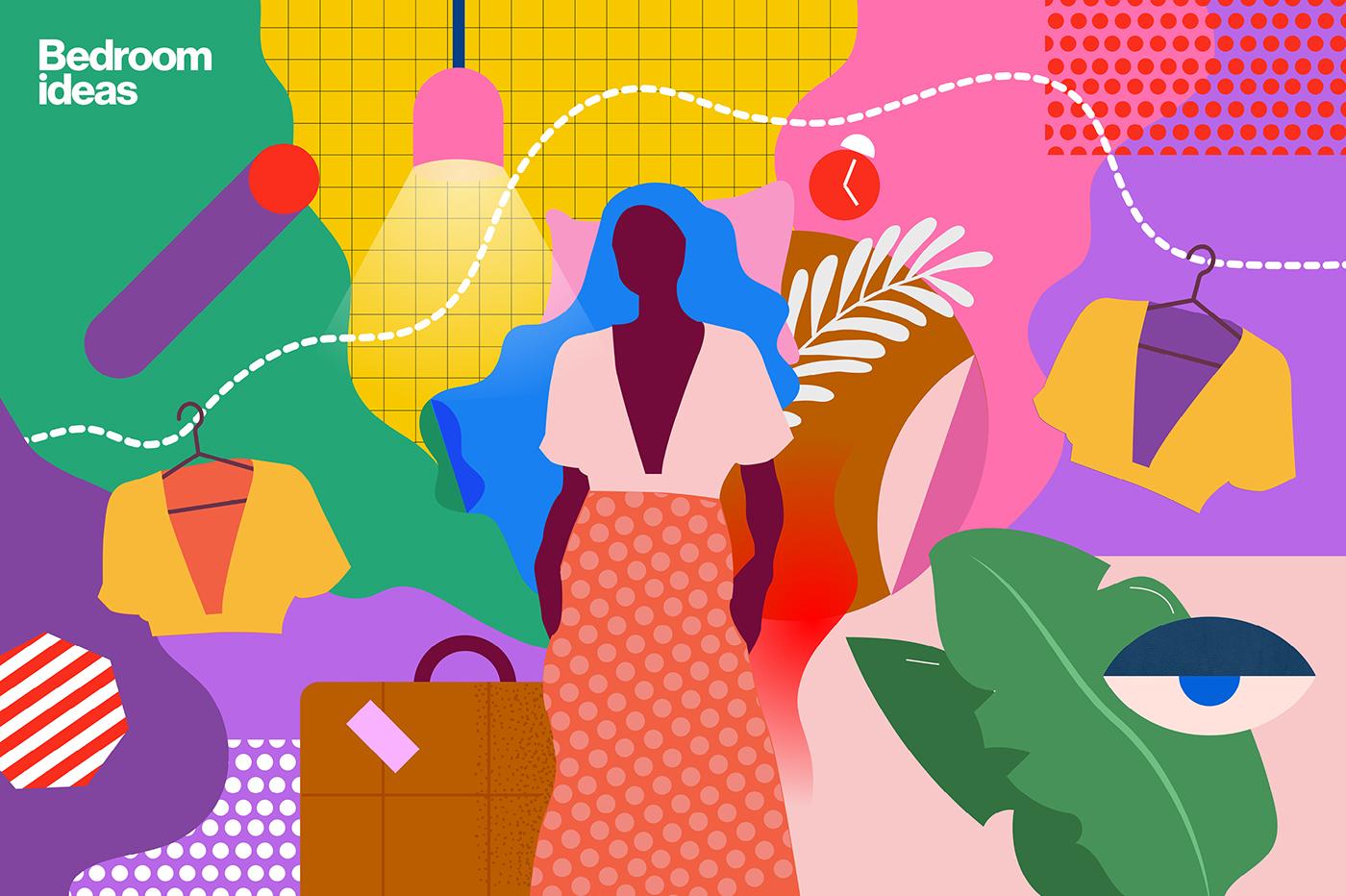 Pinterest ILLUSTRATION  home decor Interior colours shapes branding  bedroom accessories plants