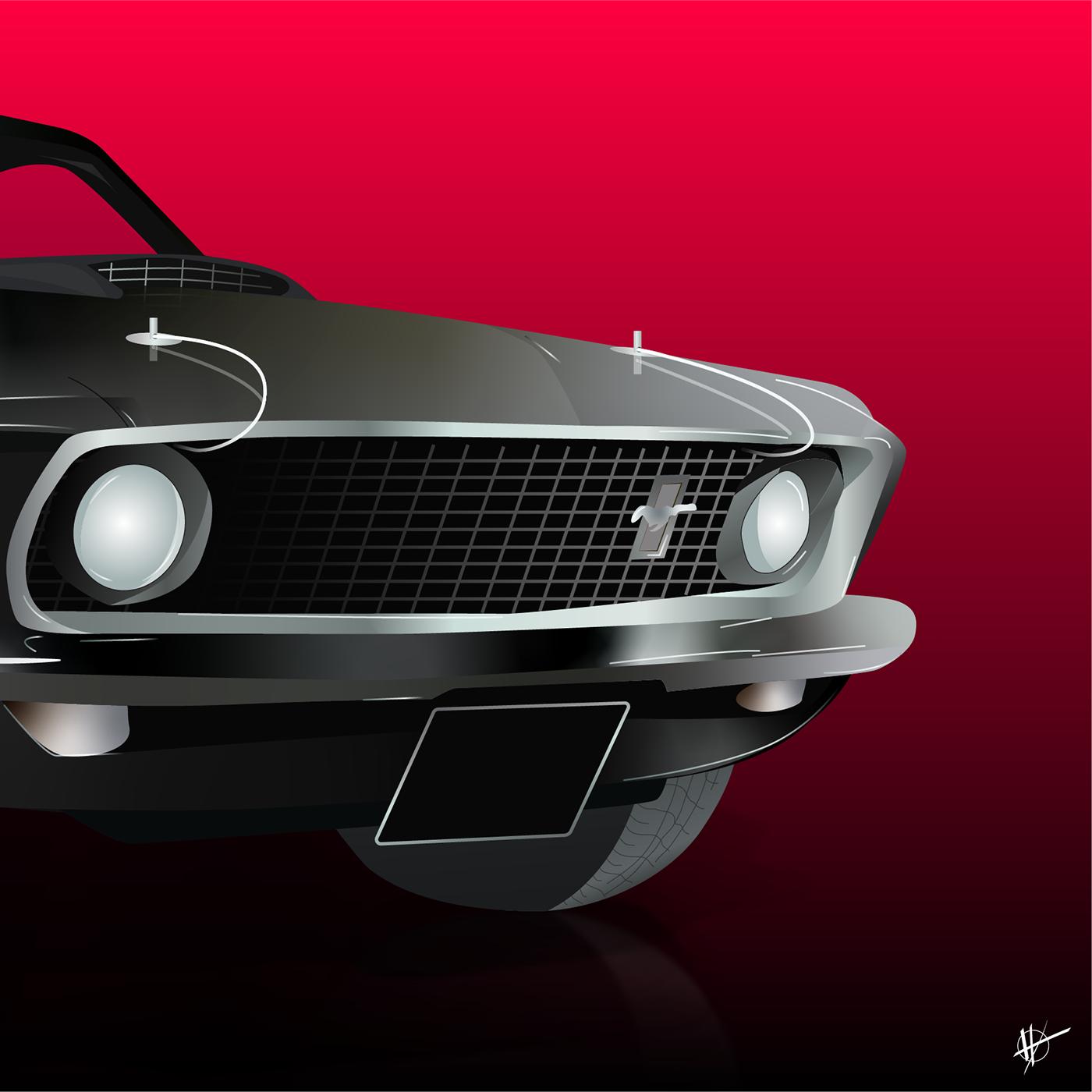 american car car Fastback ILLUSTRATION  muscle car Mustang mustang fastback road vector art voiture