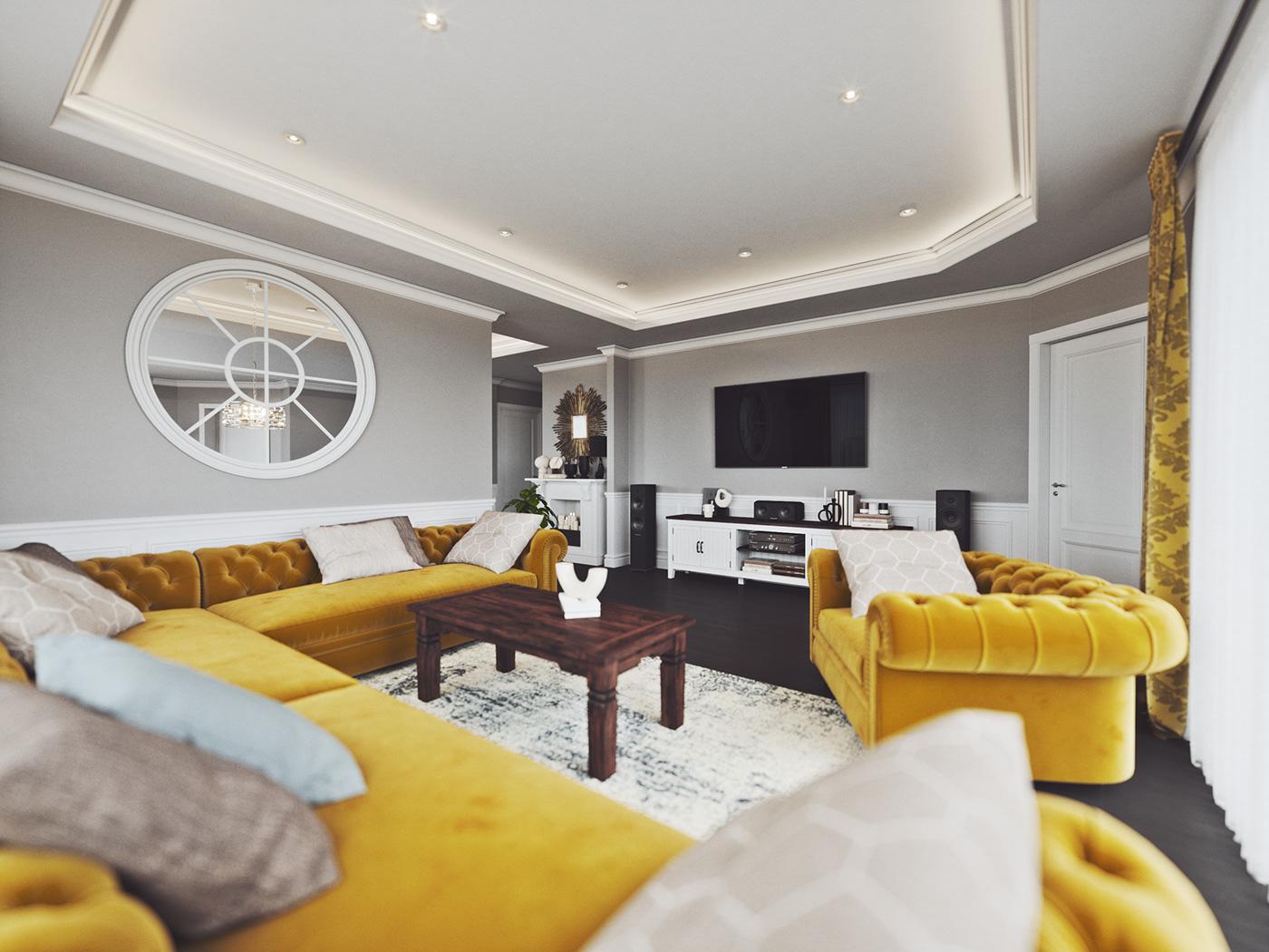 chesterfield grey kitchen livingroom mustard