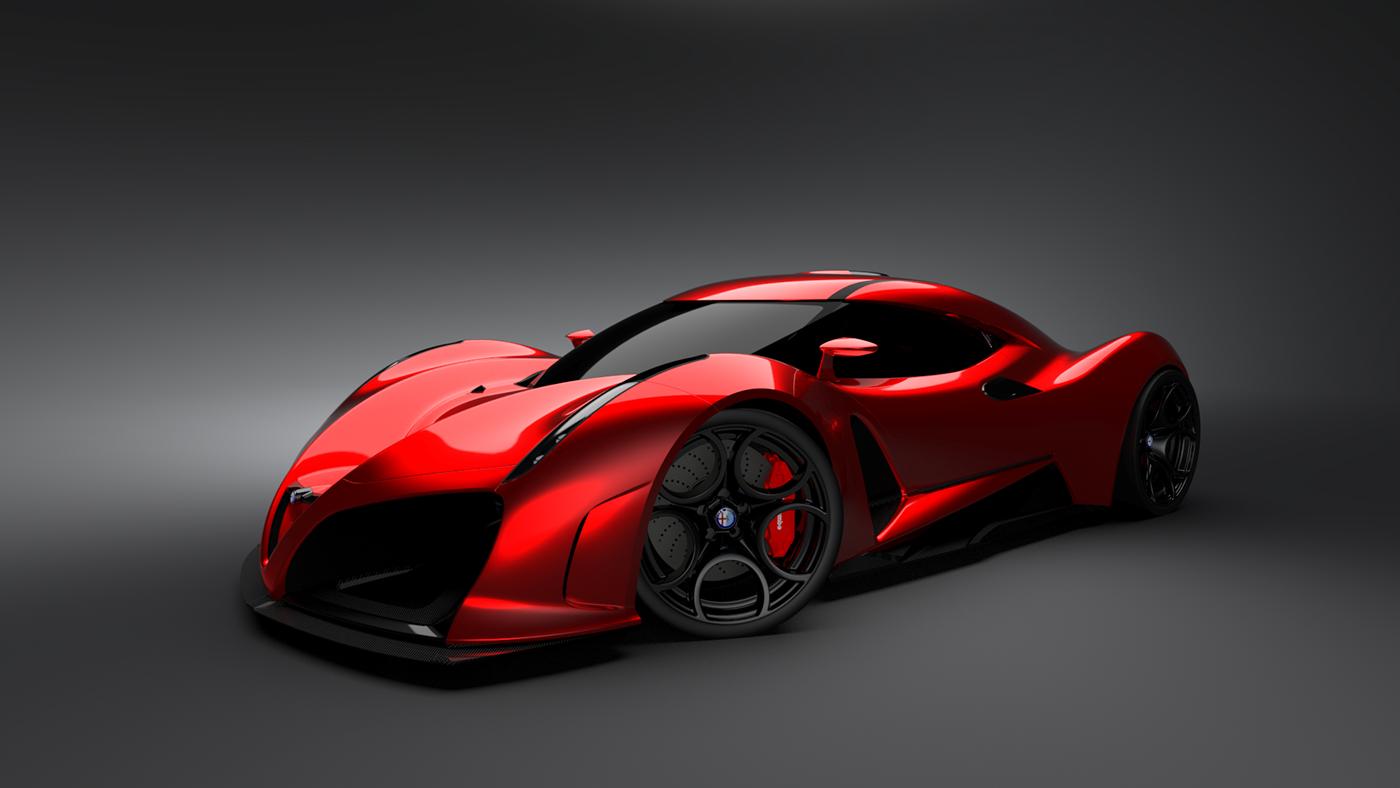 alfa romeo sports car Alias VRED 3D 3dmodeling