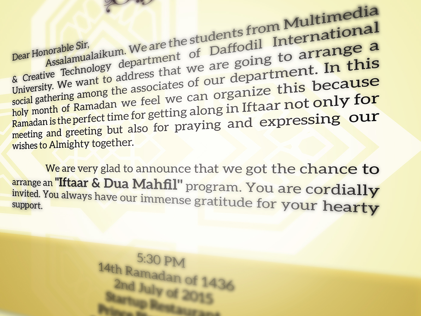 Iftaar Invitation Card On Behance