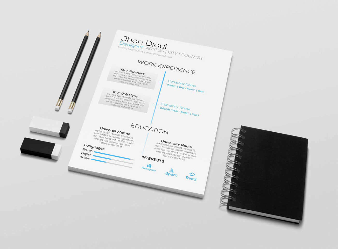 Free resume template psd on behance pronofoot35fo Images
