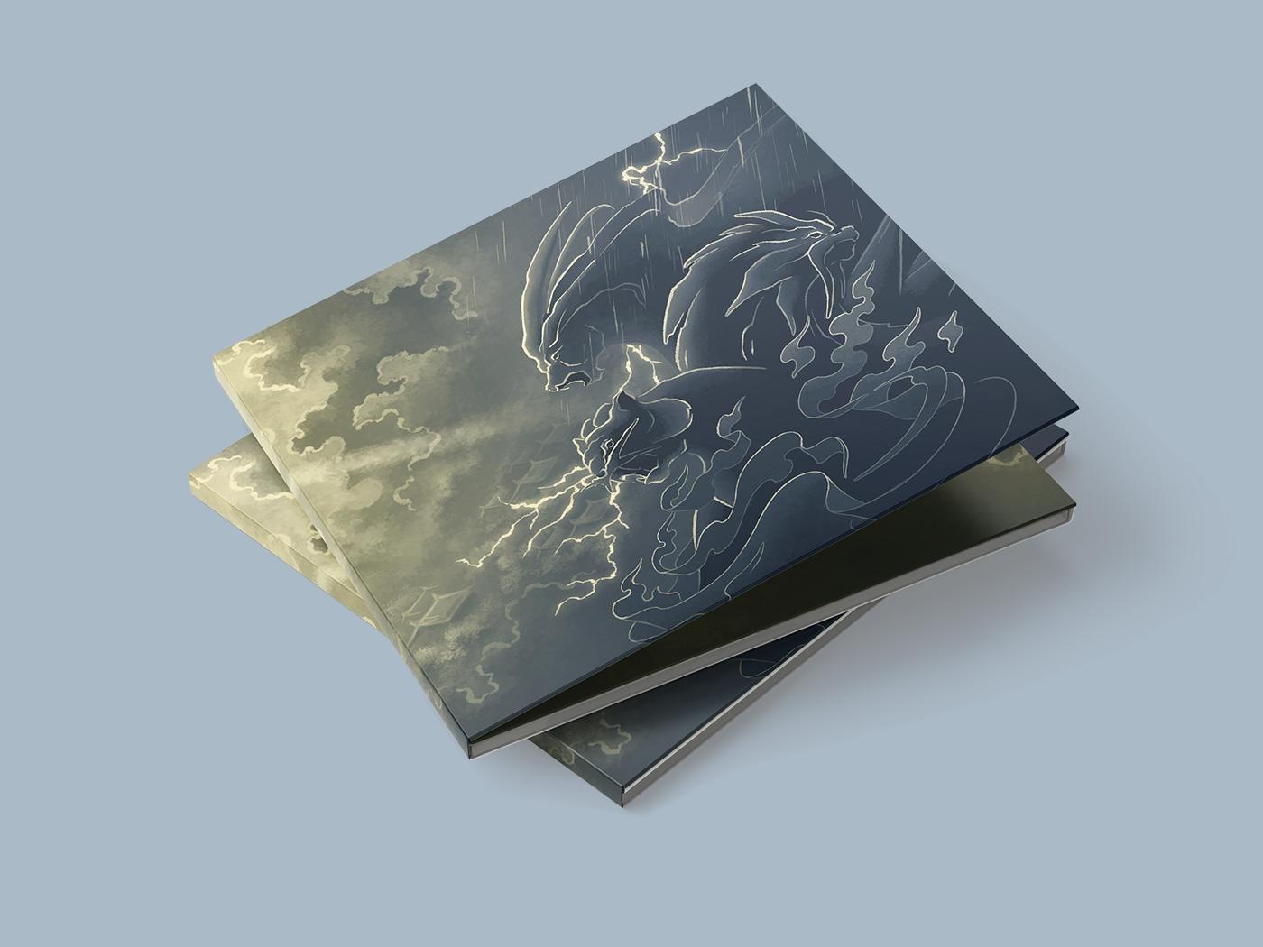 Gaming music cd fanart ornamental Packaging gold blue creatures monster