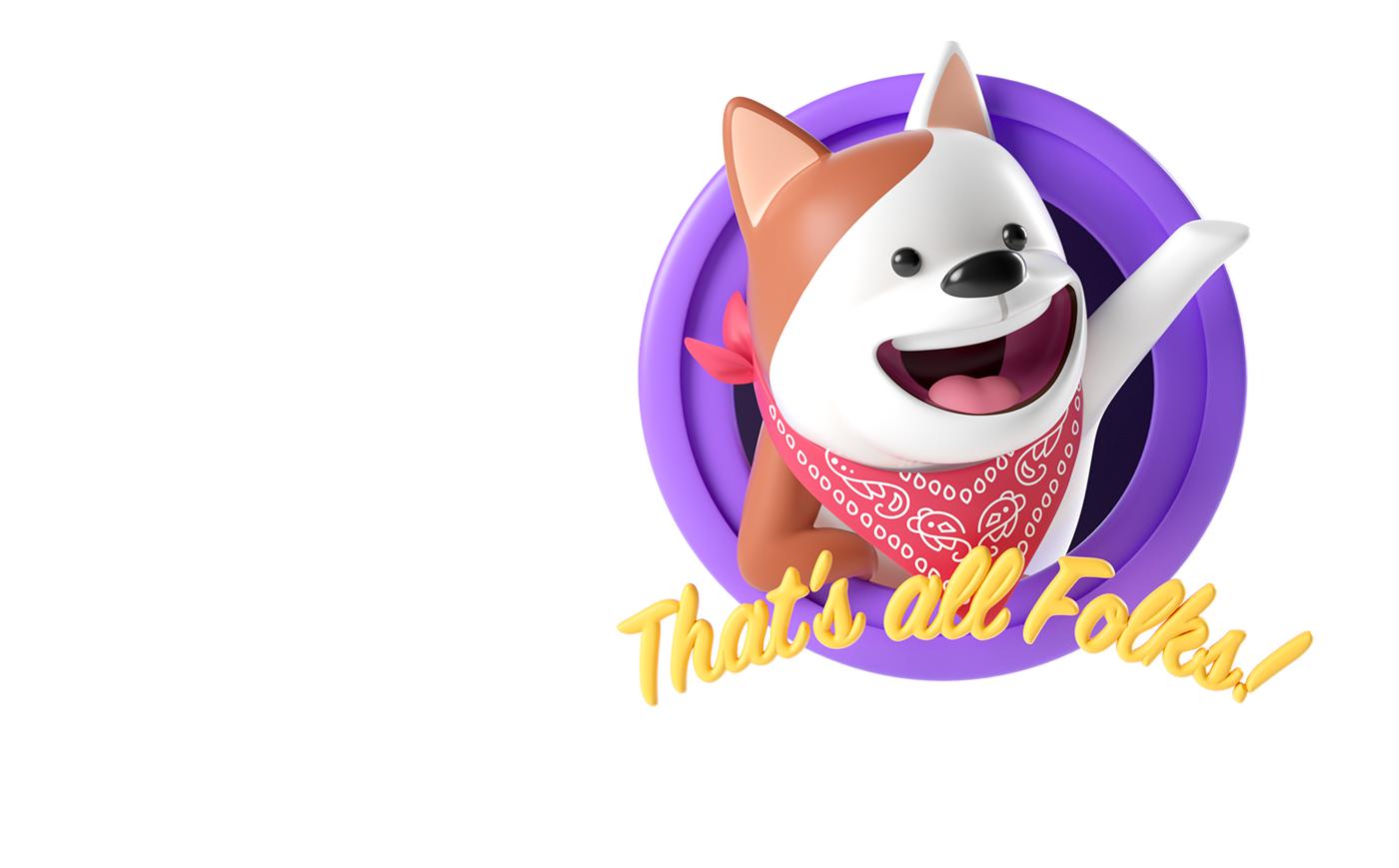 stickers,3D,sticker pack,3d stickers,dog sticker,Render,app stickers,cinema4d,characterdesign,dog