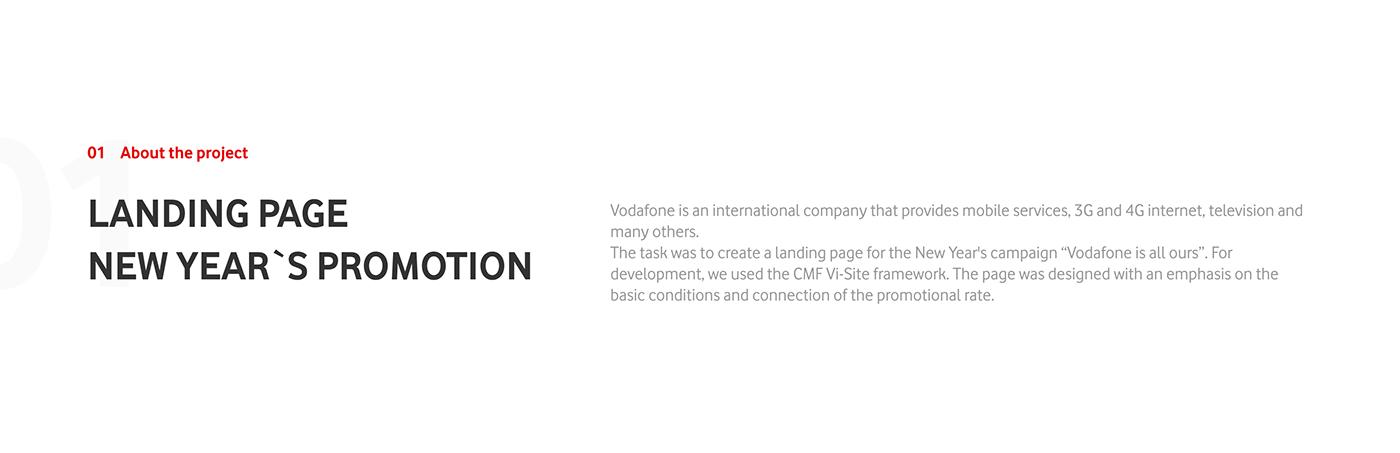 animation  creative design development landing mobile operator new year vis-a-vis vodafone Web