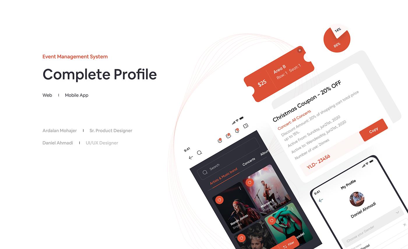 complete profile design Event login profile system management ticket UX design UX process web app