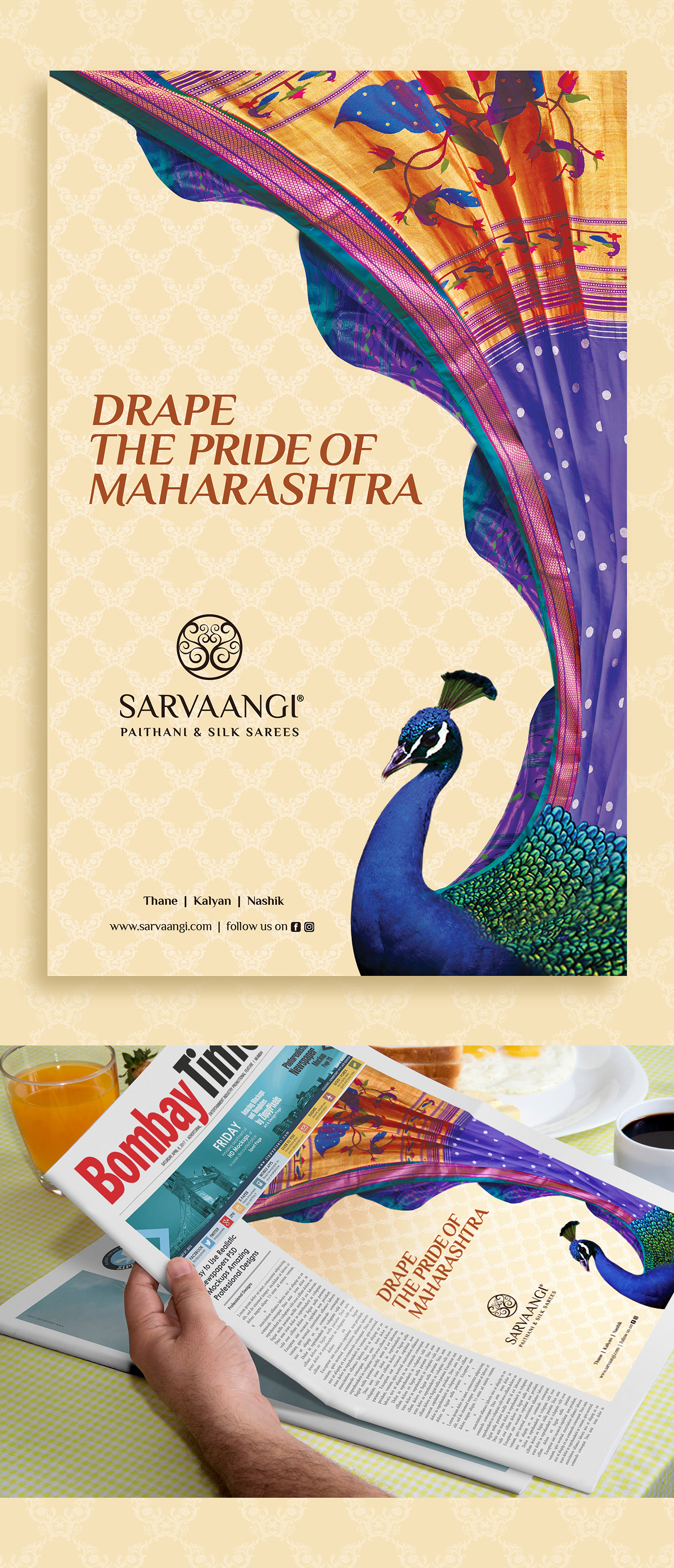 sarvaangi,saree,bombaytimes,AuthenticIndian,indian,culture,paithani,Maharashtra,Startup Farms