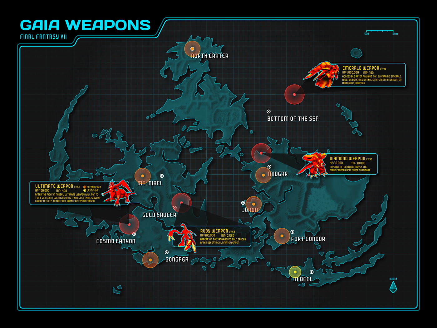 Final Fantasy VII: Weapons Map on Behance