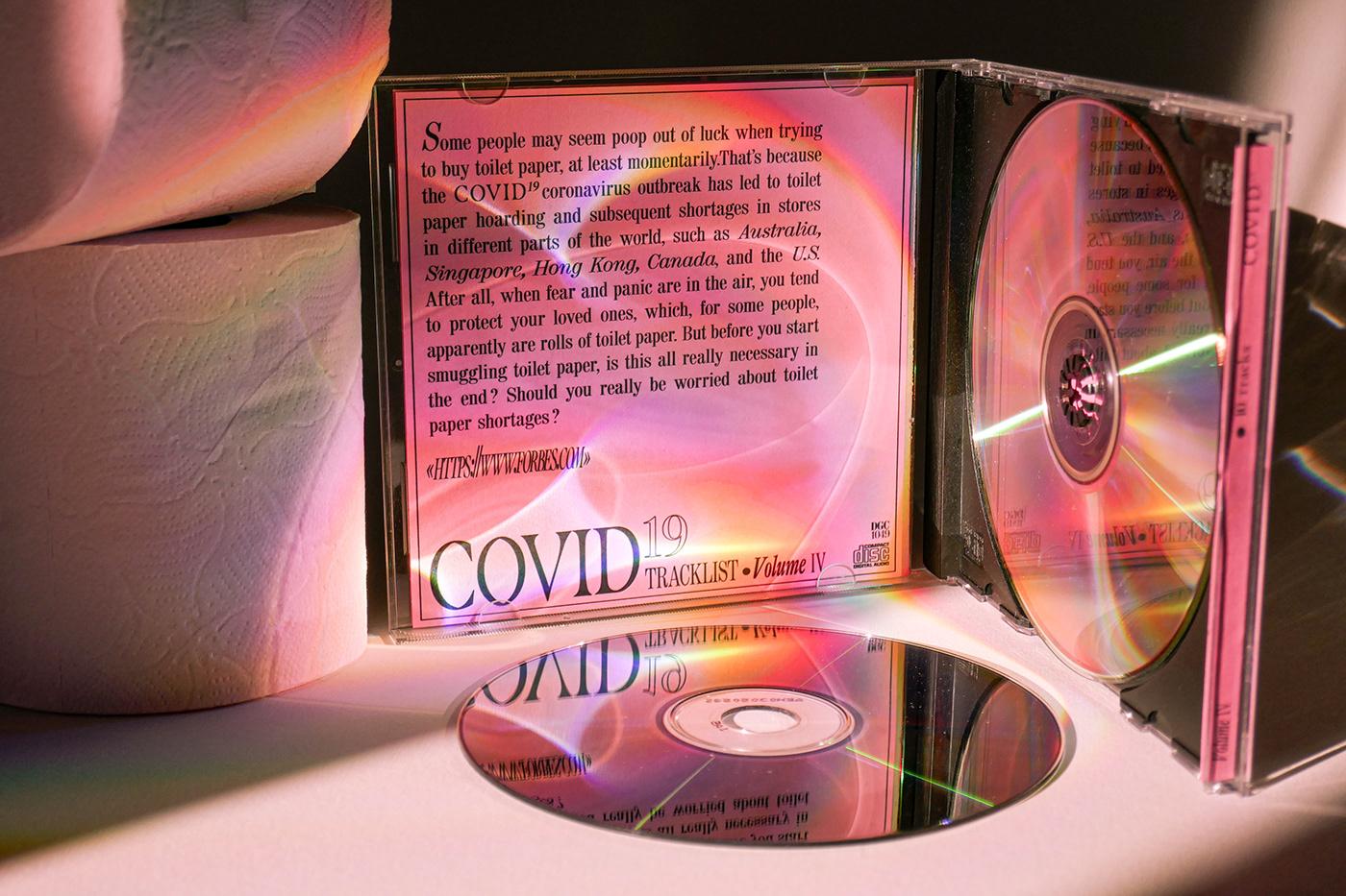 Album cd corona COVID-19 graphicdesign kitch miseenscene publicité toiletrolls Typographie