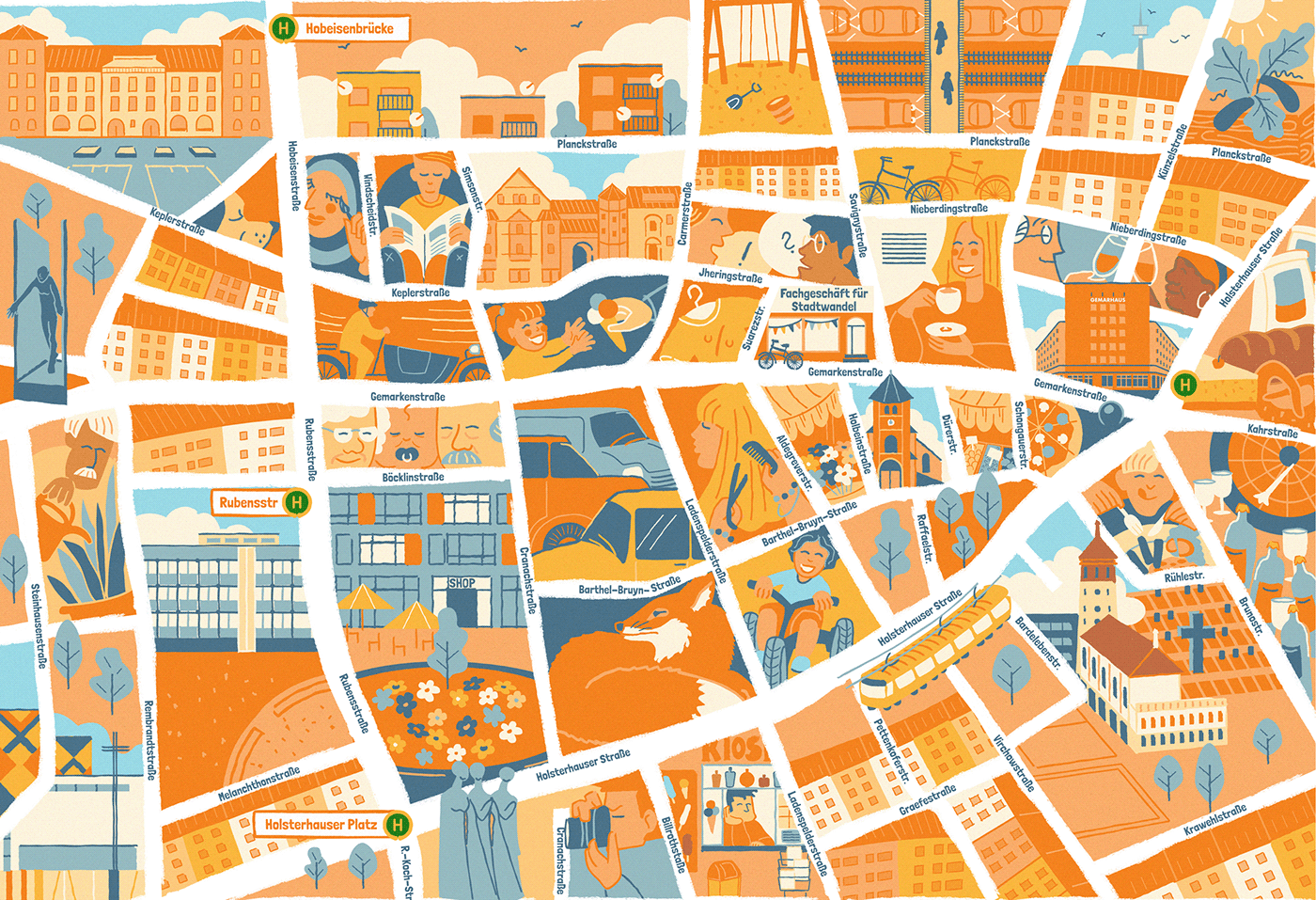 illustrated city-map of essen-hosterhausen, germany