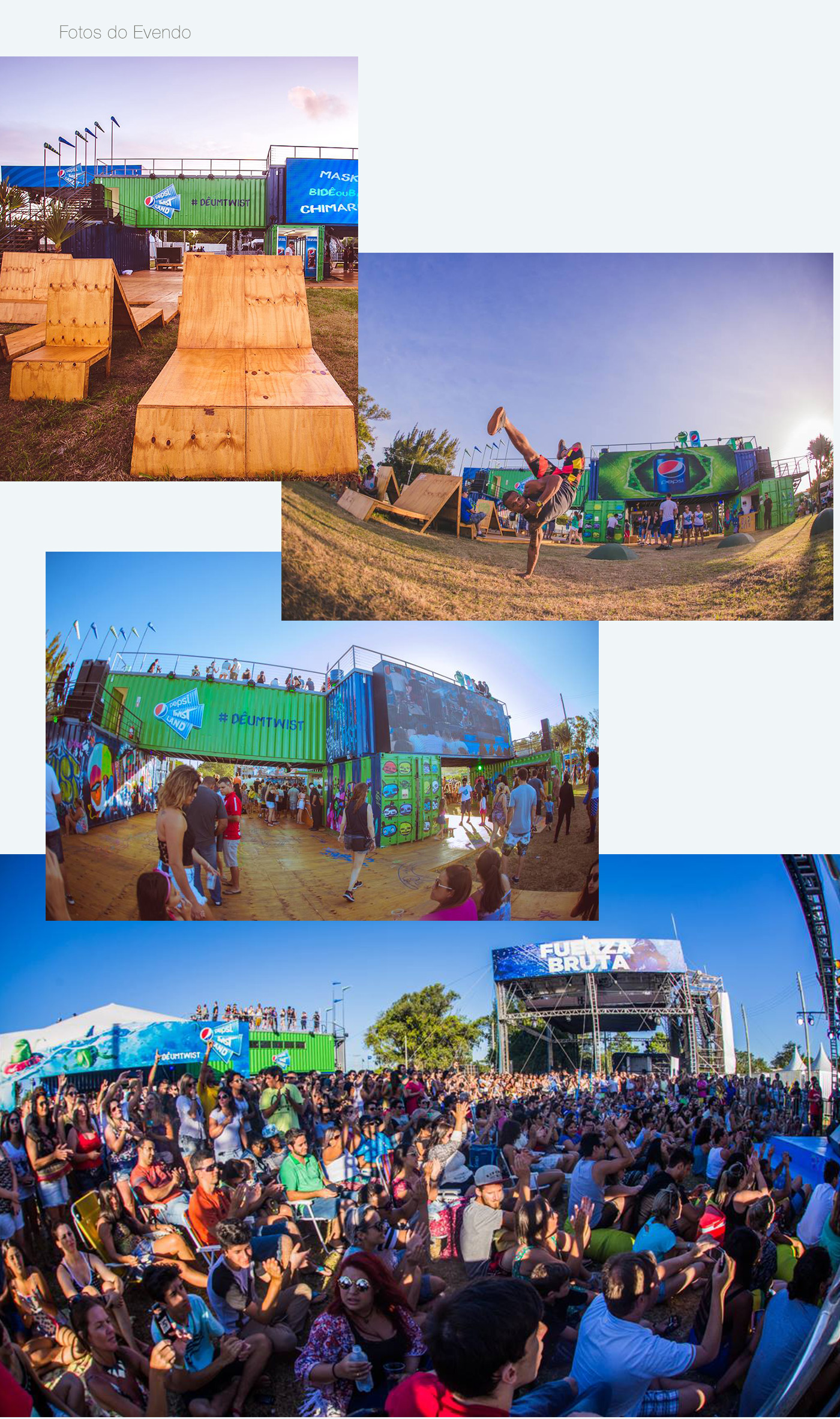 photo composition music festival containers beach Tree  lemon Fuerza Bruta making of