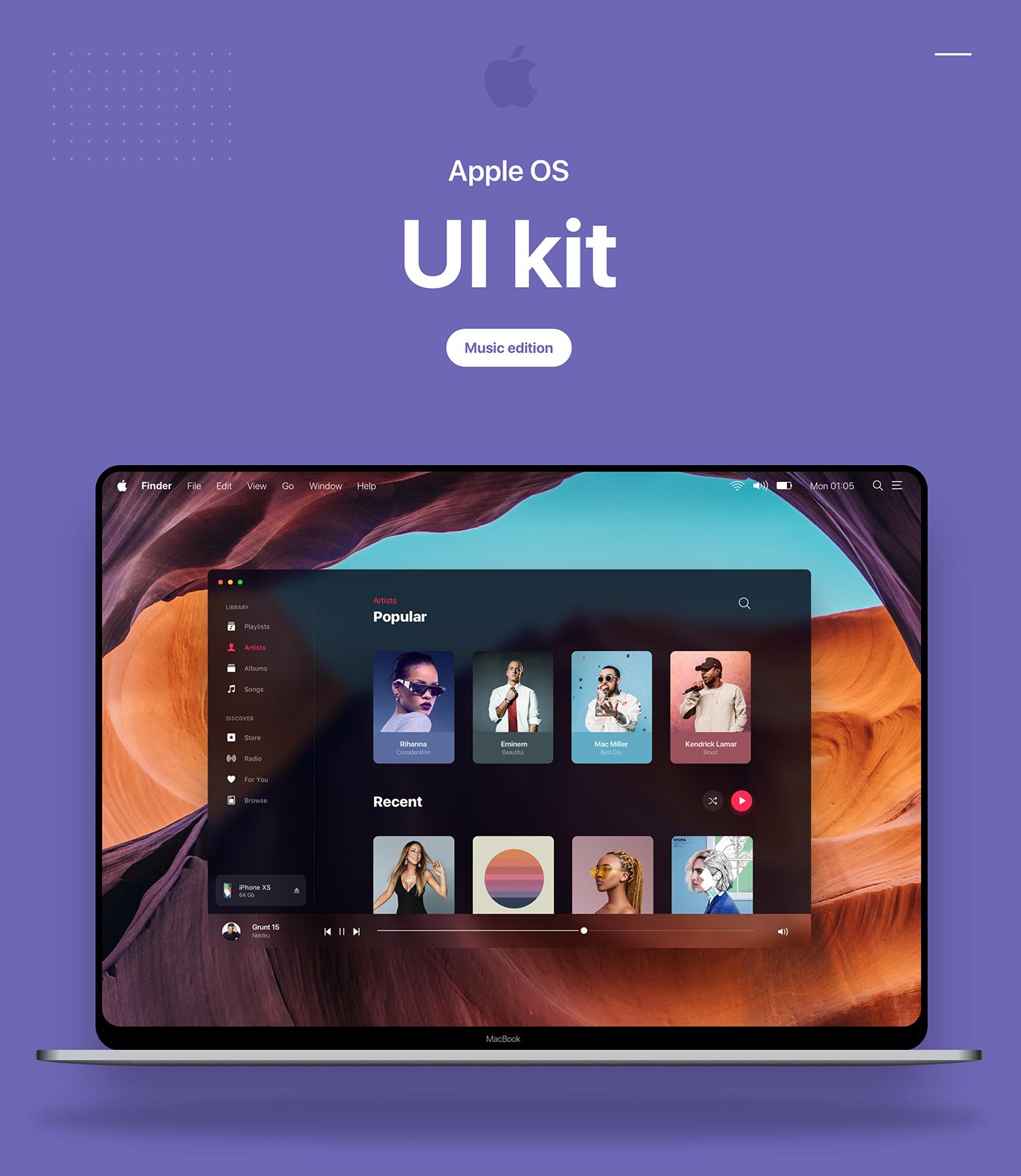 apple mac ios UI kit dark mobile music design future