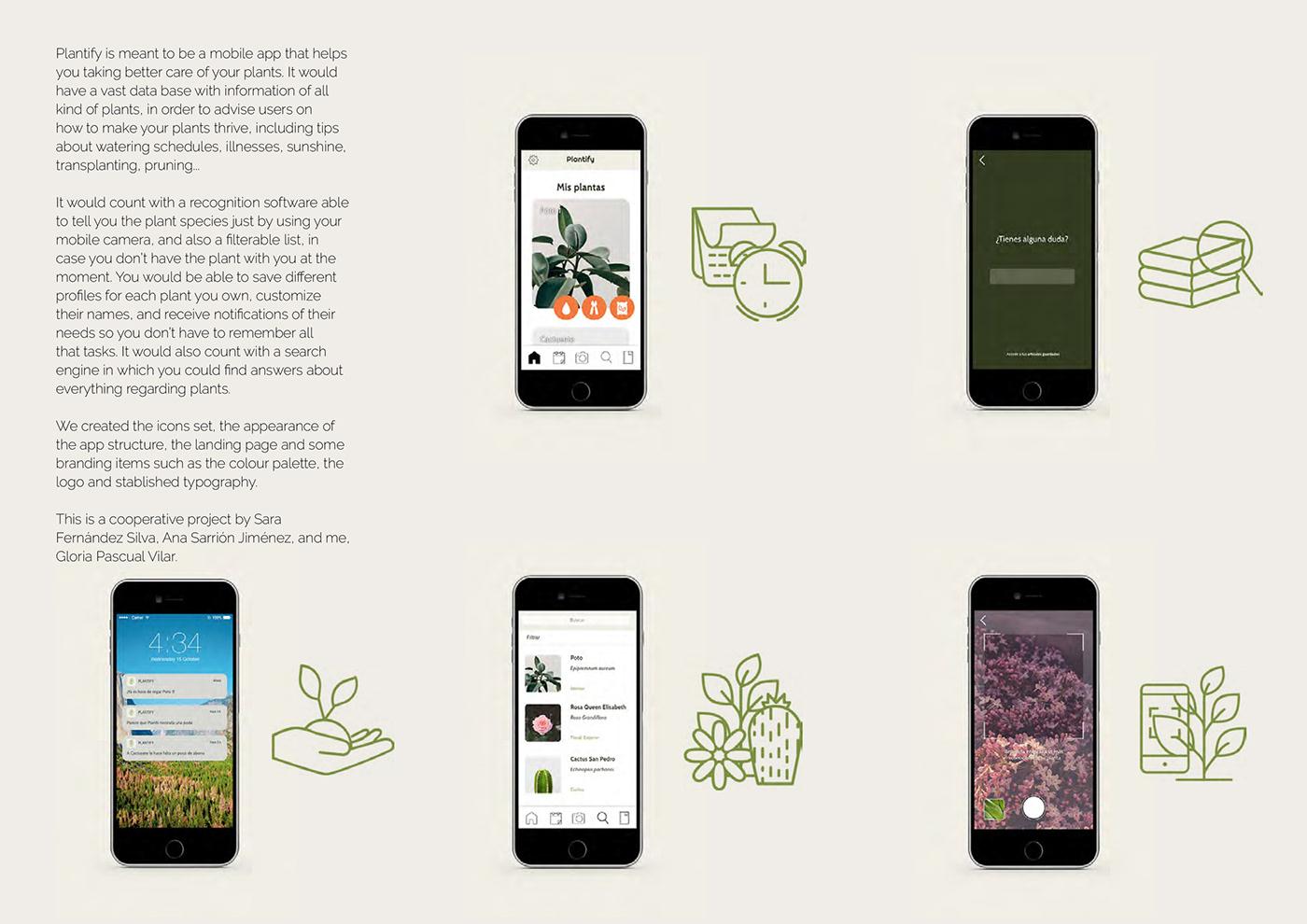 interfaz app landing page UI diseño gráfico branding  plantas