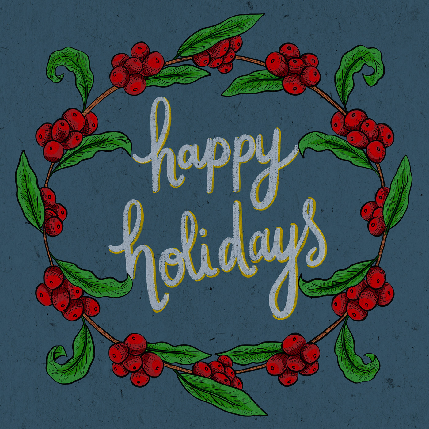 Coffee coffee cherries crosshatching Handlettering holidays typography   wreath
