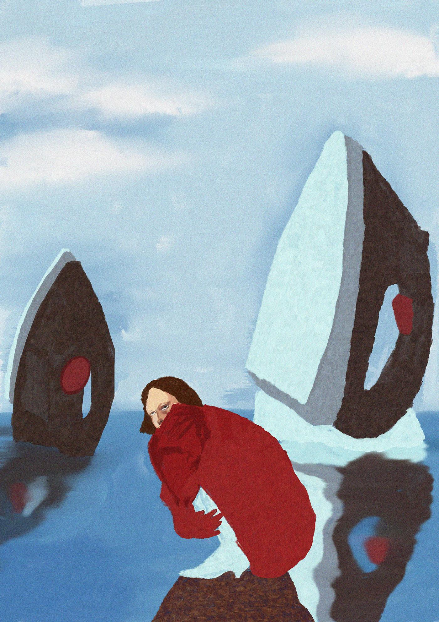 artist artwork digitalpainting Drawing  feminism ILLUSTRATION  Landscape portrait print wallart